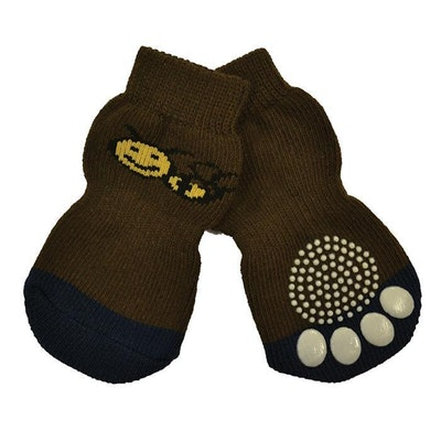 Zeez Non-Slip Knitted Pet Socks w/ Bee for Dogs Brown Set of 4 - 8 Sizes