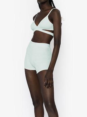 Katie Rib Boxer Shorts - Pastel Blue