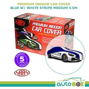 SAAS Premium Indoor Classic Car Cover Medium 4.5M Blue with White Stripe
