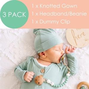 Marli & Me™ Knotted Gown + Headband/Beanie + Dummy Clip| BUNDLE