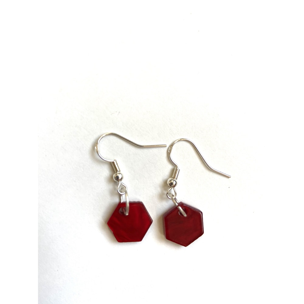 One of a Kind Club Red Hex Charm Earrings