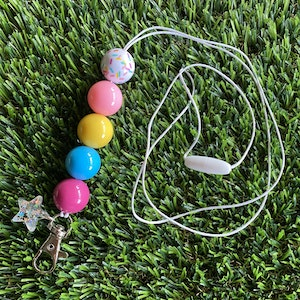 Rainbow Lanyard - Rainbow Delight Designer Lanyard. Fabulous Fun Colours that will Liven Up any outfit. Featuring an adorable Iridescent Star Charm.