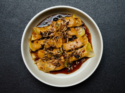 White Cabbage, Tofu and Green Onion Wontons, Spicy Black Bean Sauce (8 PIECE) (VG)