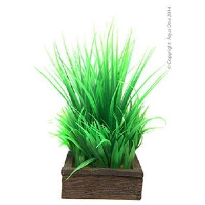 Aqua One Aquarium Ornament - Planter Box Green Grasses 11.3x9x22.5cm