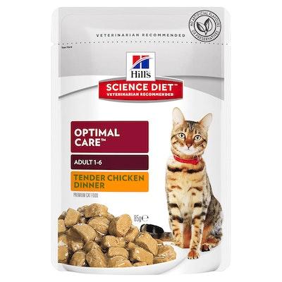 Hills Adult 1+ Optimal Care Wet Cat Food Tender Chicken Dinner 12 x 85g