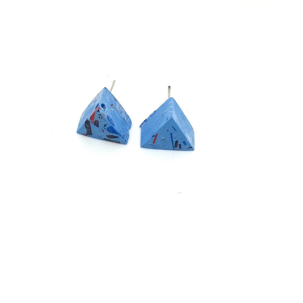 One of a Kind Club Sky Blue Vivid Jesomite Triangle Earring Studs
