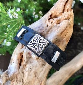Funky unisex black Celtic cuff.