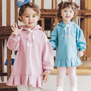 Lace Ribbon Hooded Sweater Dress (1-7yrs old)