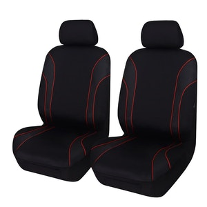 Universal Strident Front Seat Covers Size 30/35 | Red Piping