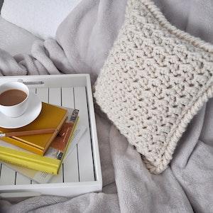 Marshmallow • Cushion • Crochet Chunky Knit • Colour: VANILLA