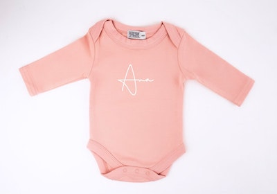 Personalised Blush Pink L/S Onesie - Fancy Font