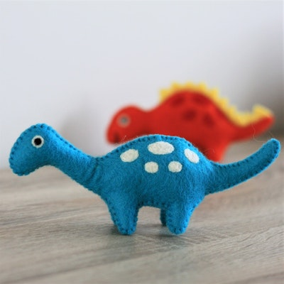 """Queenie's Pawprints Natural Wool Hand-felted Toy """"Blue Spotted Dino"""""""