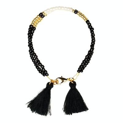 Global Sisters Shop Sofia Tassel Bracelet - Black