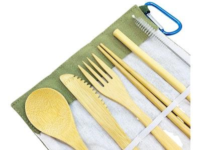 arōmaLEAF Bamboo Cutlery Set - Green