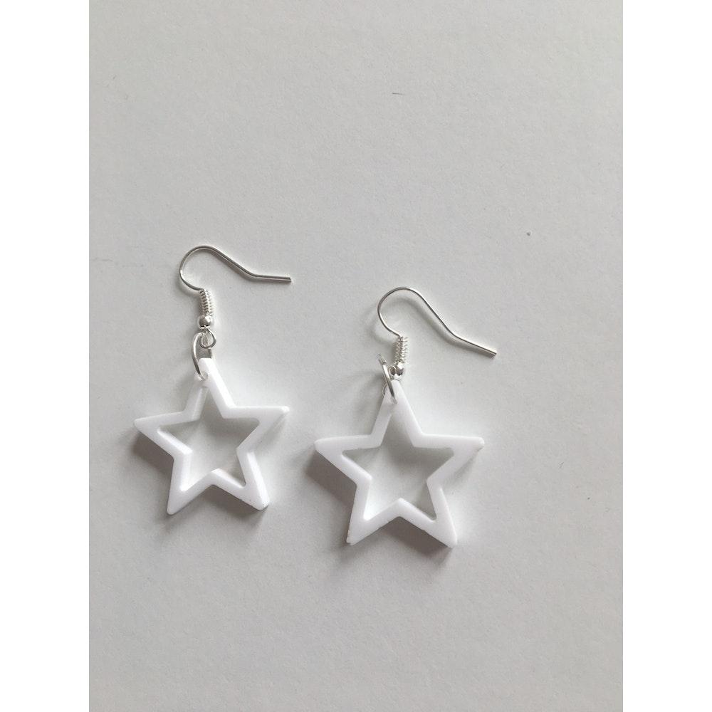 One of a Kind Club White Star Acrylic Earrings