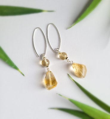 Uniqu-Lea Yours Beautiful Citrine and Hill Tribe Silver Earrings