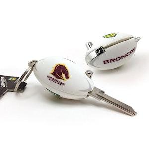 Creative Keys NRL Footy Flip Key Blank with Keyring LW4 - Brisbane Broncos