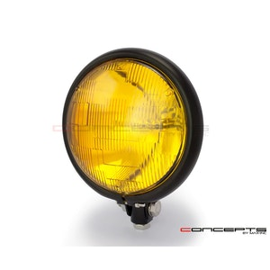 "Bates Style Bottom Mount Headlight 5 3/4"" Yellow Lens - Matte Black"