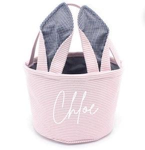 Personalised Seersucker Easter Basket - Pink