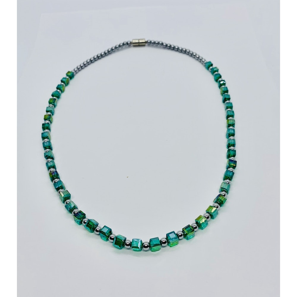 Fayre Maiden Teal Blue Cubed Necklace