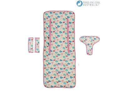 Keep Me Cosy™ Pram Liner Set + Harness & Buckle Cosy -  Flamingo