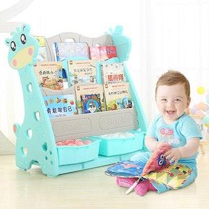 All 4 Kids Children Giraffe Bookcase Magazine Bookshelf - Blue