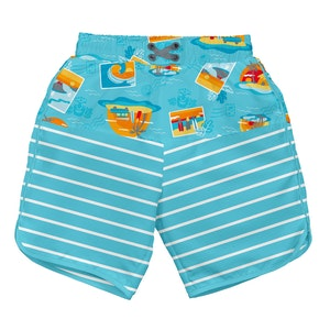 i play. Mix & Match Board Shorts w/Built-in Reusable Absorbent Swim Diaper-Aqua Surf Sunset