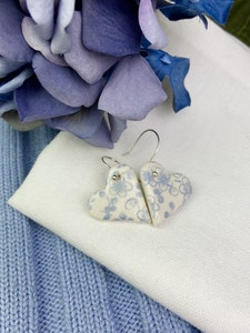 Pale Blue and White Floral Print Earrings - Heart - Sterling Silver Hooks