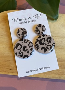 Winnie and Gil Brown leopard dangles