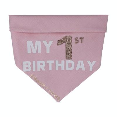 Swanky Paws 1st Birthday Girls Bandana