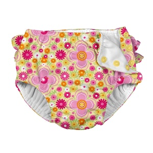 i play. Mix & Match Ruffle Snap Reusable Absorbent Swimsuit Diaper-Yellow Fiesta Floral