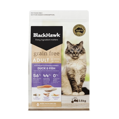 Black Hawk Grain Free Adult Duck & Fish Dry Cat Food