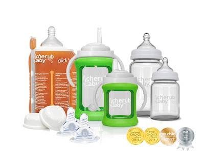 Glass Baby Bottles Starter Kit Bundle & Warmer - Green