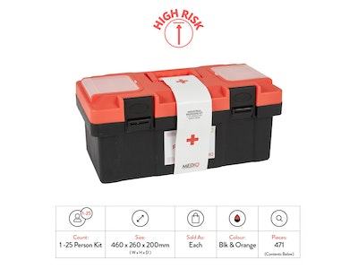 WH Safe Mediq Essential Industrial Response First-Aid Kit - Plastic Tackle Box (High Risk)
