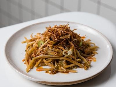 Lagoon Dining Hot & sour shredded potato, Chinkiang vinegar, pickled enoki