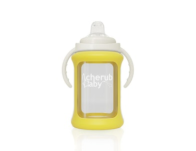 Wide Neck Glass Sippy Cup with Colour Change Sleeve 240ml - Yellow