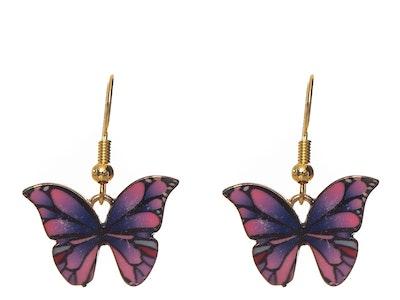Juzii Butterfly Earrings Purple and Pink