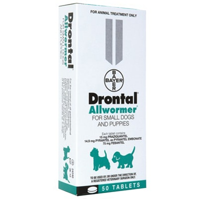 Drontal Chewable Allwormer for Puppies & Small Dogs 3kg - 2 Sizes