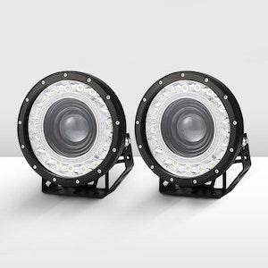 Pair 9 Inch Cree Led Driving Lights Spot Round  Black Spotlights 4X4 Offroad Suv