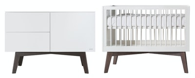 Kidsmill Sixties Nursery Package. White/Dark Pine