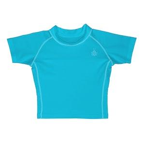 i play. Short Sleeve Rashguard Shirt-Dark Aqua