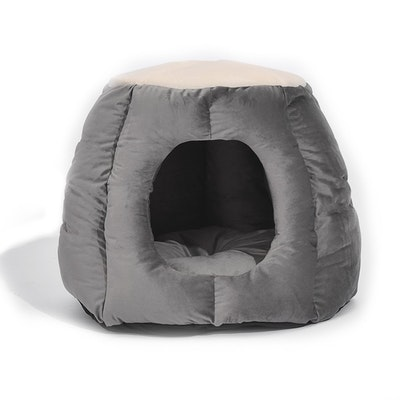 House of Pets Delight Cat Castle Igloo Round Nest Cave Grey L