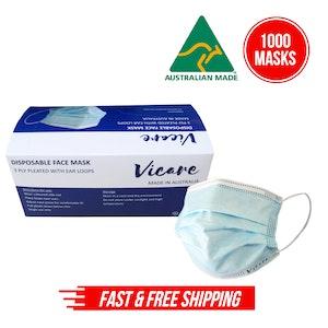 Disposable Face Mask 3 Ply (Australian Made) - 20 x 50pcs/box