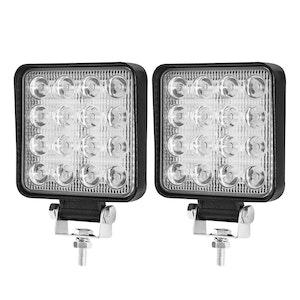 LIGHTFOX LIGHTFOX 2x 4inch 80W Square LED Work Lights Bar CREE Spot Flood Reverse 4WD Ute Truck
