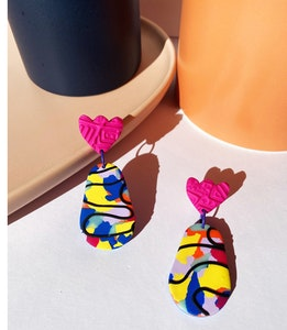 Clashing Brights - Large Rounded Dangles