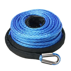 Fieryred FIERYRED 10MM X 30M Synthetic Winch Rope Dyneema Sk75 Tow Recovery Cable 4WD Car Blue