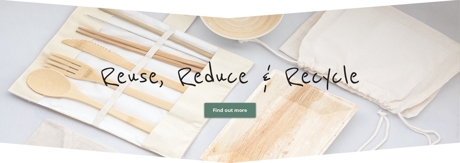 image of eco products with header reuse, reduce & recycle