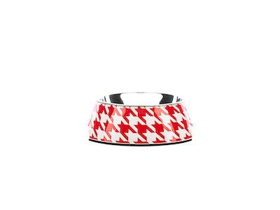 Houndztooth Houndz Dog Bowl - Vintage Red