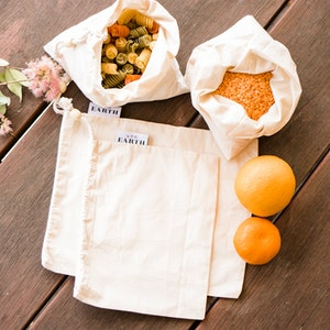 Us and the Earth 100% Organic Cotton Solid Weave Produce Bags   Set Of 3