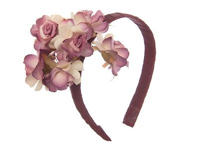 Jenny's Original Designs Mauve/purple and Cream paper rose on dark Pink ribbon Fascinator